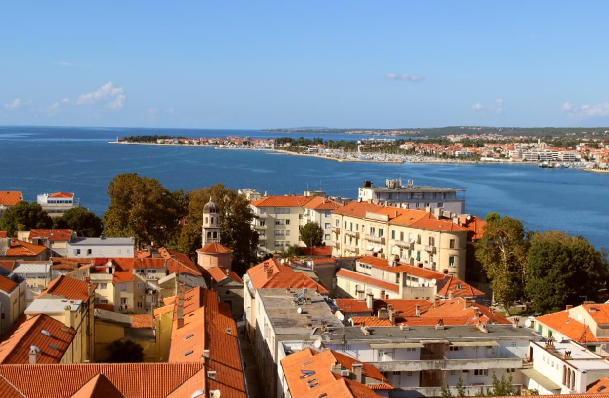 Zadar Chorwacja widok na miasto z wieży przy kościele Św. Donata