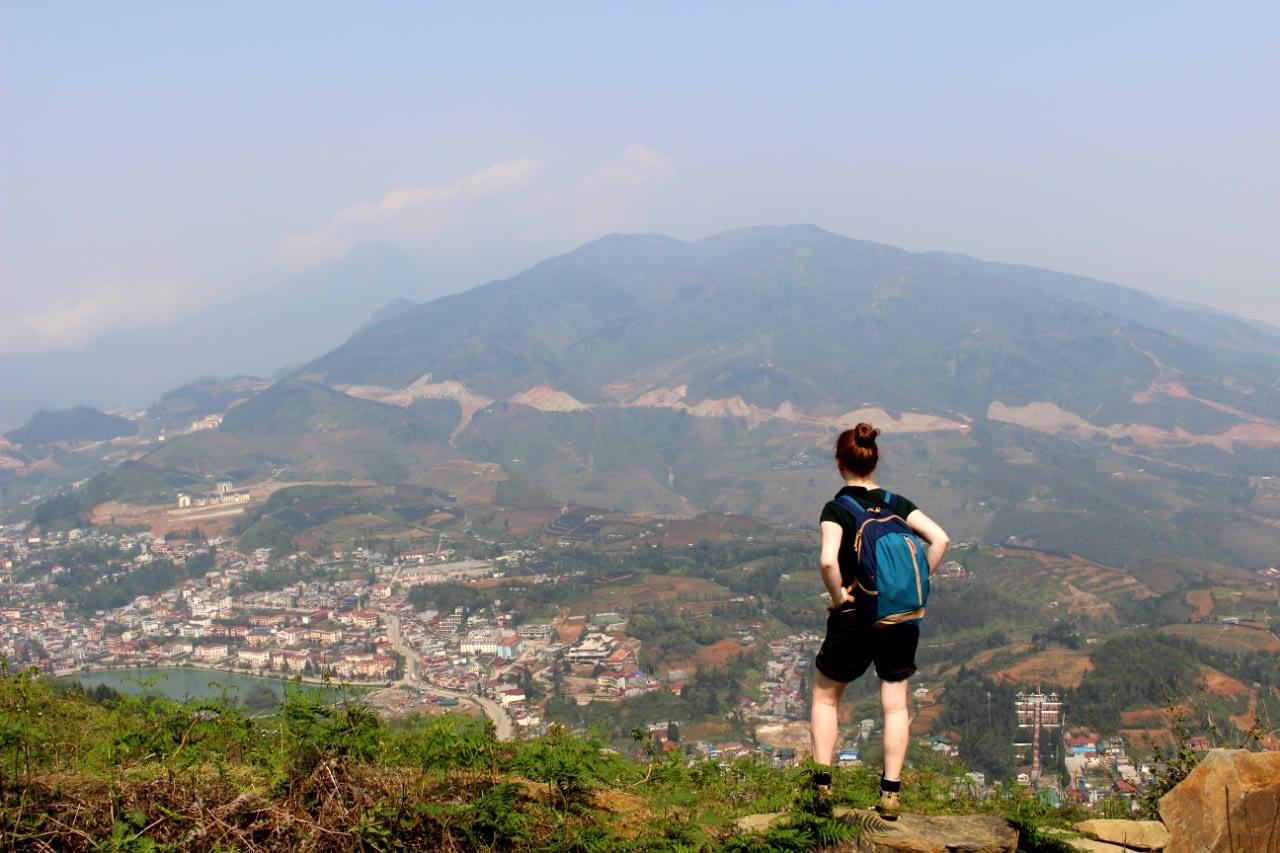 Trekking w Wietnamskich górach, widok na Sapa i okoliczne wioski, Wietnam 2019 r.